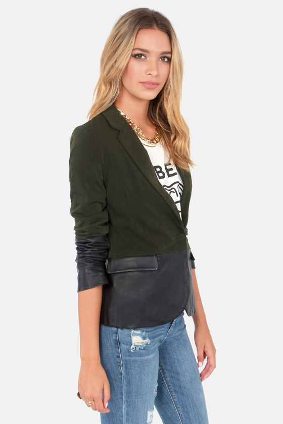 Scholar ID Black and Olive Green Blazer at Lulus.com!