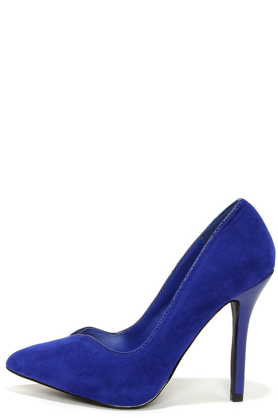 Anne Michelle Sensuous 34 Blue Suede Pointed Pumps at Lulus.com!