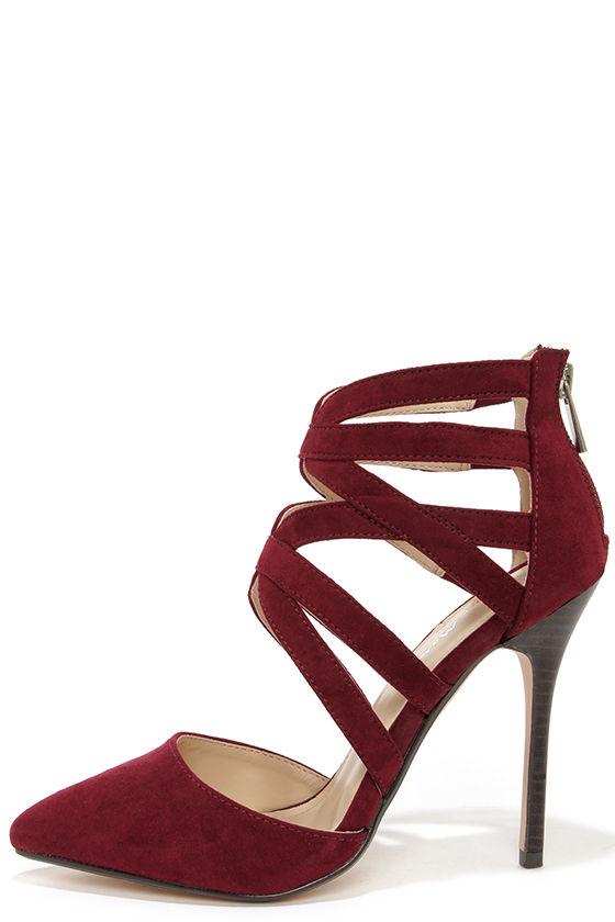 1e2af2bf93 Cute Oxblood Heels - Caged Heels - Red Heels - $39.00