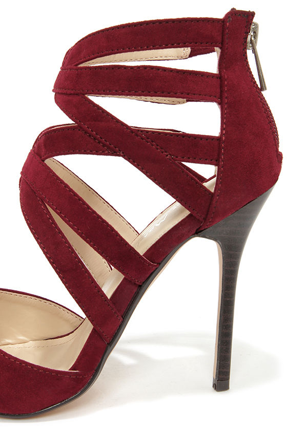 Anne Michelle Spiral 30 Oxblood Suede Caged High Heels at Lulus.com!