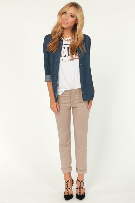Rhythm Chinyes Khaki Chino Pants at Lulus.com!