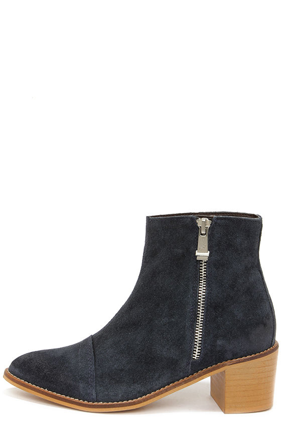 Cute Navy Boots - Ankle Boots - Booties - $119.00