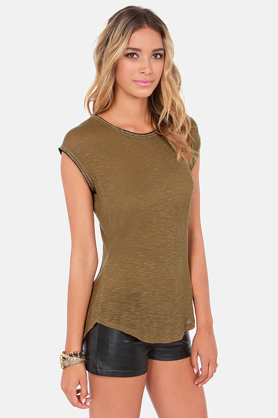 Black Swan Shine Olive Sleeveless Top at Lulus.com!
