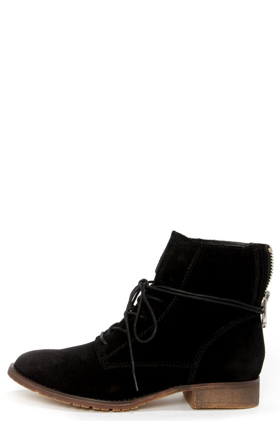 on feet images of top design latest fashion Steve Madden Rawlings Black Suede Lace-Up Ankle Boots