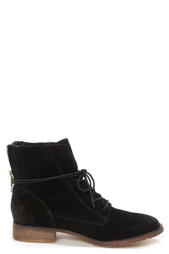 Cute Black Shoes - Suede Shoes - Lace-Up Shoes - Ankle Boots - $99.00