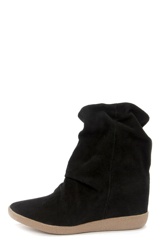5d809f72778 Cute Black Boots - Suede Boots - Wedge Boots -  109.00