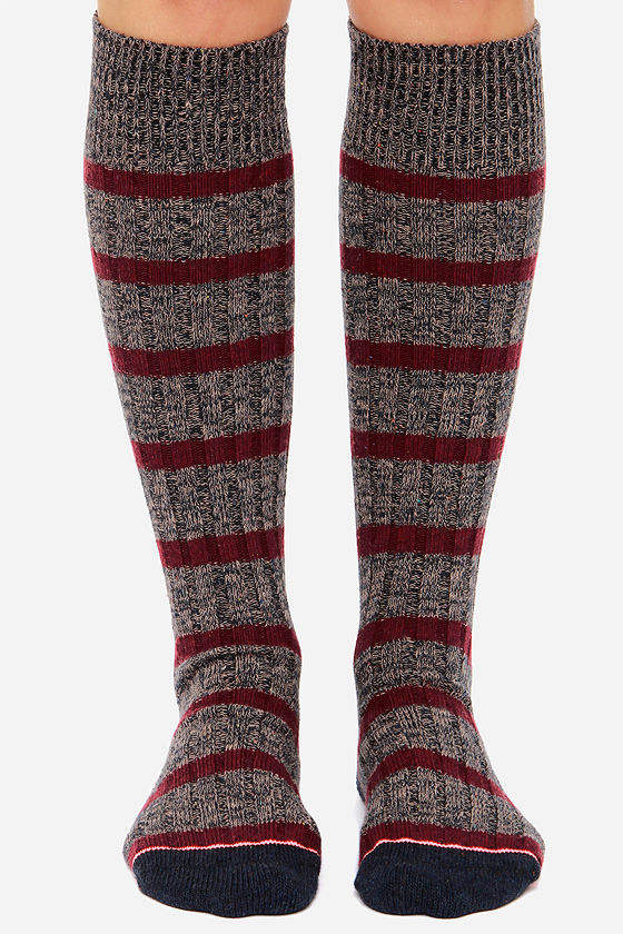 Stance Ella Burgundy Striped Socks at Lulus.com!