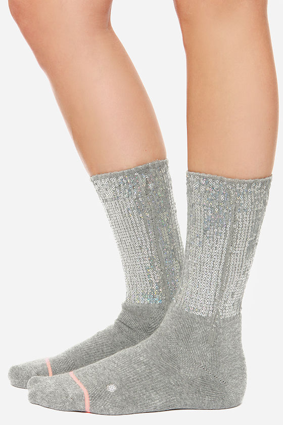 Stance Bglam Grey Sequin Socks at Lulus.com!