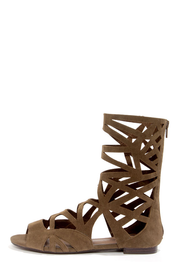 Solo 04 Taupe Cutout Caged Gladiator Sandals at Lulus.com!