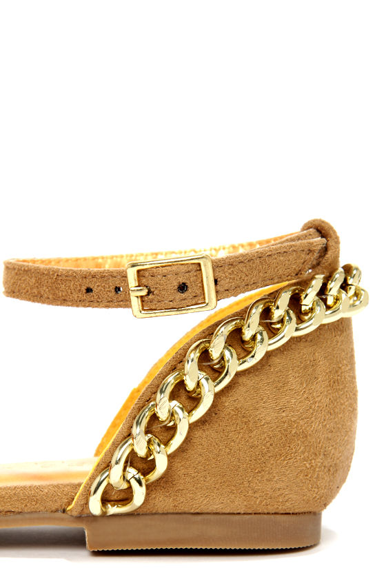 Shoe Republic LA Merry Camel and Gold Chain D'Orsay Flats at Lulus.com!