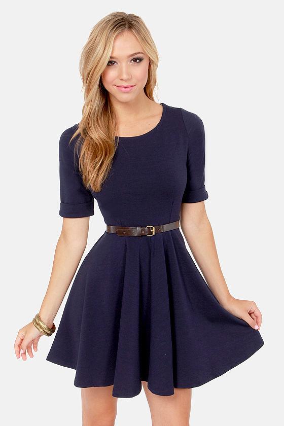d932ddb7ed50 Others Follow Shirley Dress - Navy Blue Dress - Skater Dress -  55.00