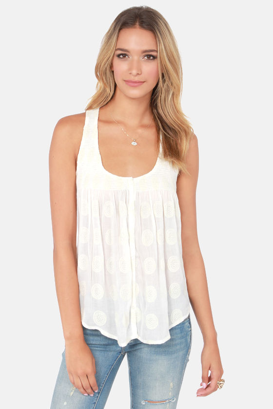 O'Neill Mon Amie Embroidered Cream Tank Top at Lulus.com!