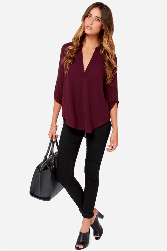 65185e5406 Wine Red Top - Burgundy Top - Short Sleeve Top -  37.00
