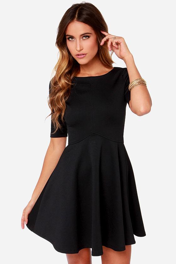 f197f55e6f6c1 Black Swan Ocean Dress - Skater Dress - Little Black Dress - $67.00