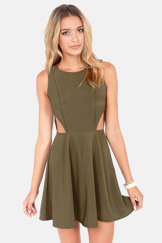 Cute Olive Green Dress Backless Dress Cutout Dress