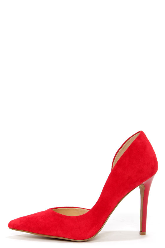 Jessica Simpson Claudette Runaway Red Kid Suede D'Orsay Pumps at Lulus.com!