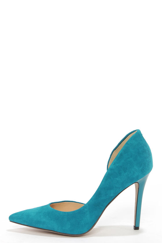 Jessica Simpson Claudette Cerulean Kid Suede D'Orsay Pumps at Lulus.com!