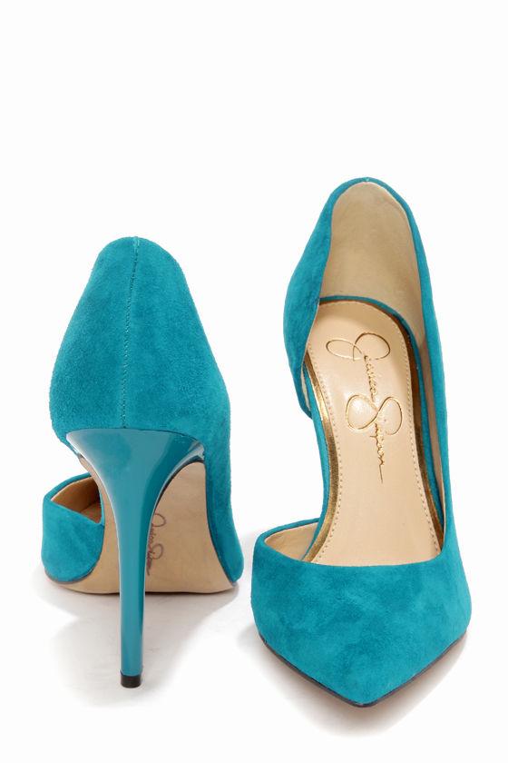 628bea354c5 Sexy Blue Heels - Kid Suede Heels - D Orsay Pumps -  81.00