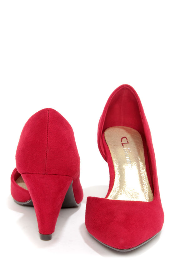 Chinese Laundry Angelina Chili Red Suede D'Orsay Kitten Heels at Lulus.com!