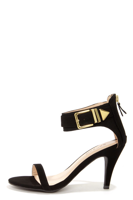 Sexy Ankle Strap Heels - Black Heels - Kitten Heels - $31.00