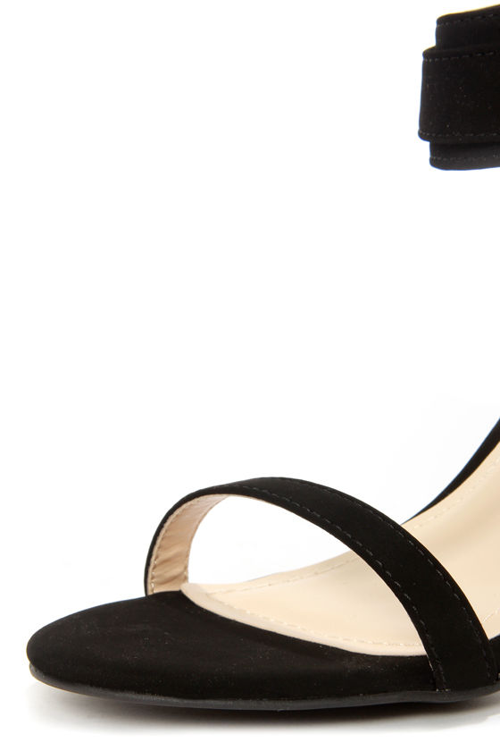 Bamboo Jenna 07 Black and Gold Ankle Strap Heels at Lulus.com!