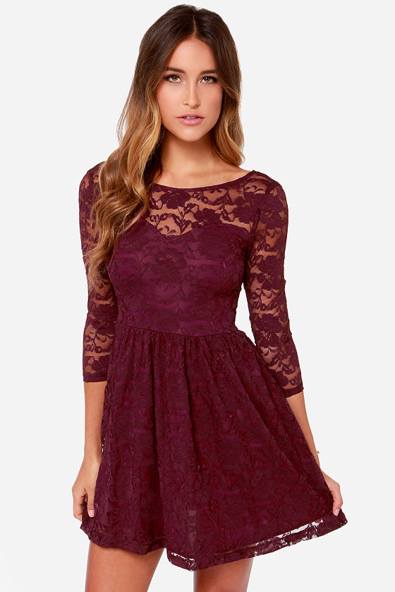 Pretty Burgundy Dress - Long Sleeve Dress - Lace Dress - $42.00