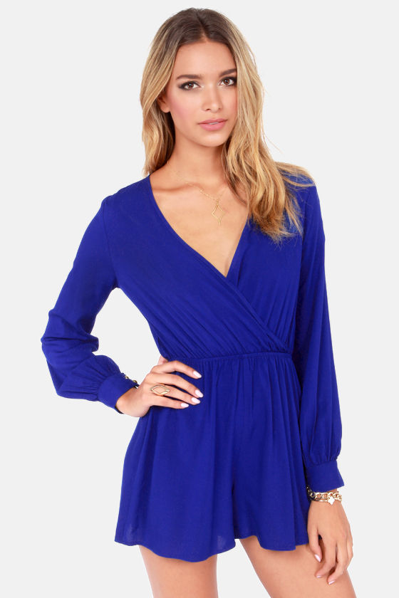 Cute Royal Blue Romper Long Sleeve Romper 42 00
