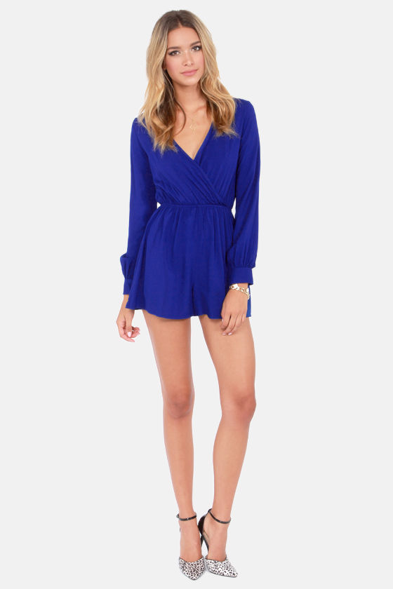 In the Balance Royal Blue Romper at Lulus.com!