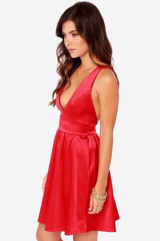 Red Dress - Backless Dress - Satin Dress - $45.00