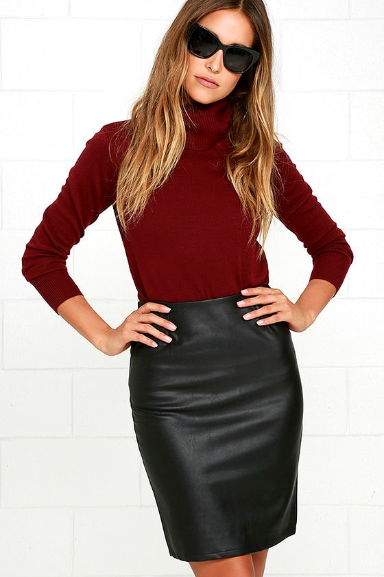 Working Wonders Black Vegan Leather Skirt at Lulus.com!