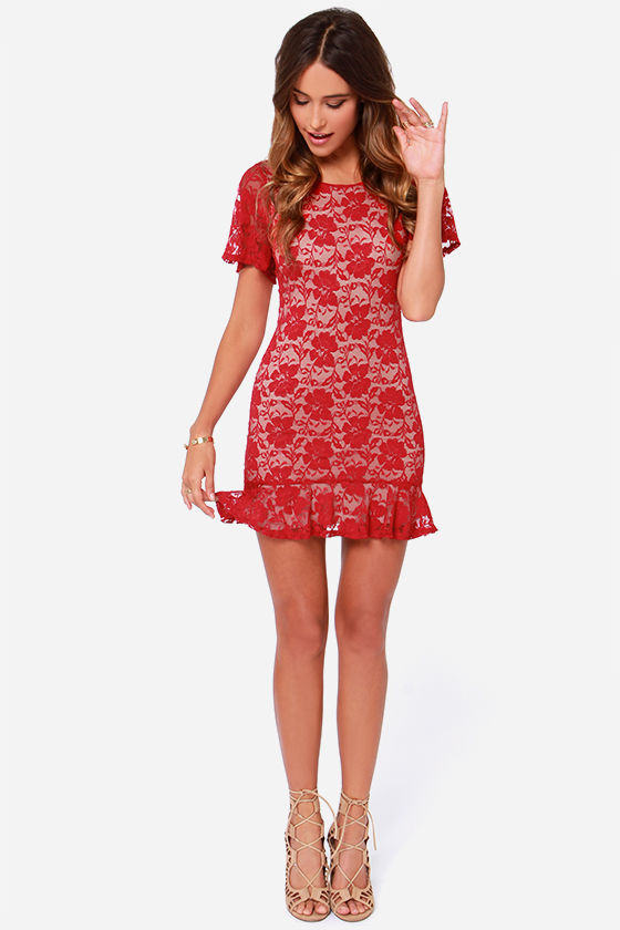 LULUS Exclusive Flutter A Word Red Lace Dress at Lulus.com!