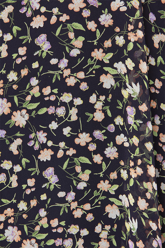 LULUS Exclusive Fleur the Merrier Navy Blue Floral Print Dress at Lulus.com!