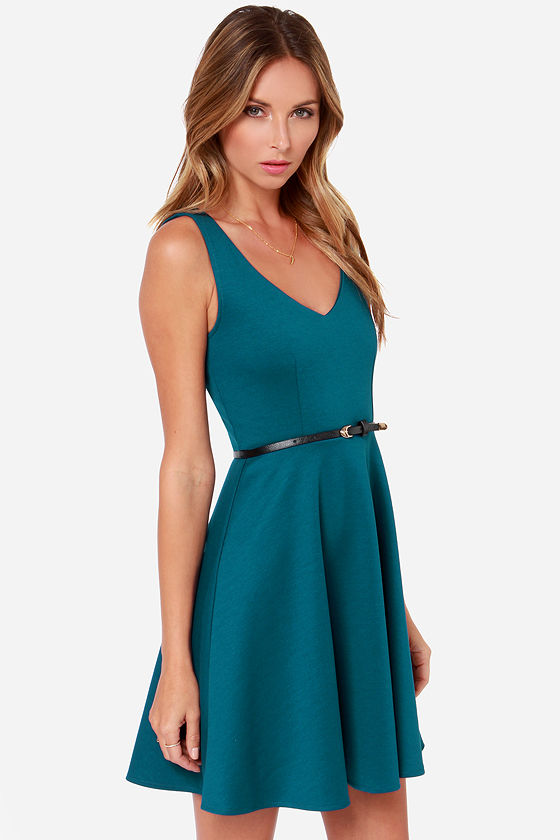 Black Swan Thread Belted Blue Dress at Lulus.com!