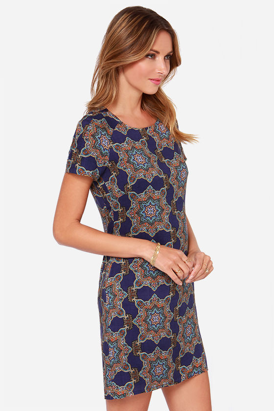 Around the World Navy Blue Print Dress at Lulus.com!