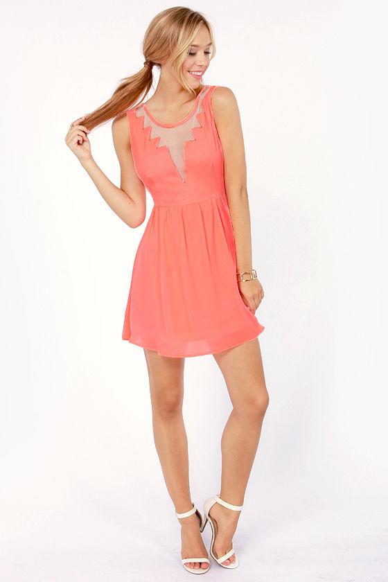78d9f256bad Cute Neon Coral Dress - Cutout Dress - Skater Dress -  47.00