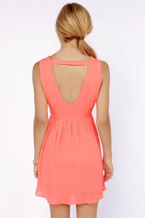 Fast as Lightning Neon Coral Cutout Dress at Lulus.com!