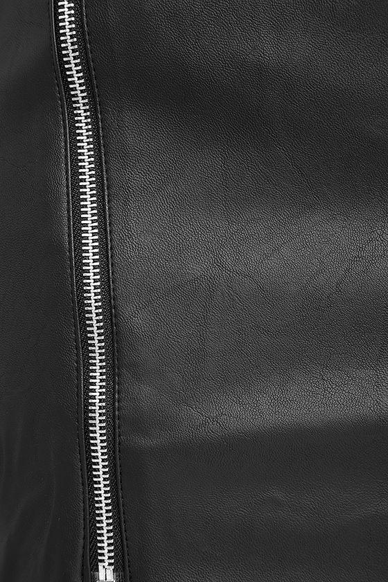 On the Zip-Side Black Vegan Leather Asymmetrical Skirt at Lulus.com!