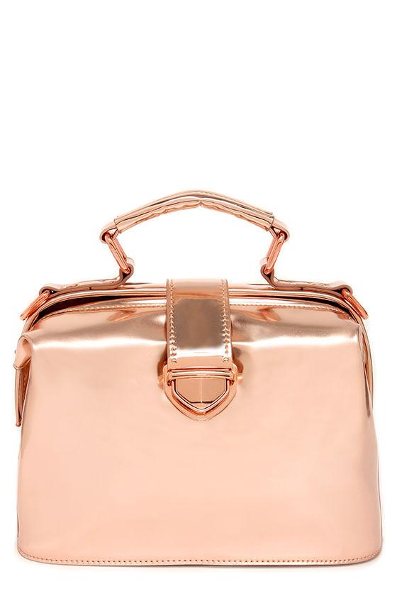Chic Rose Gold Bag - Metallic Handbag - Rose