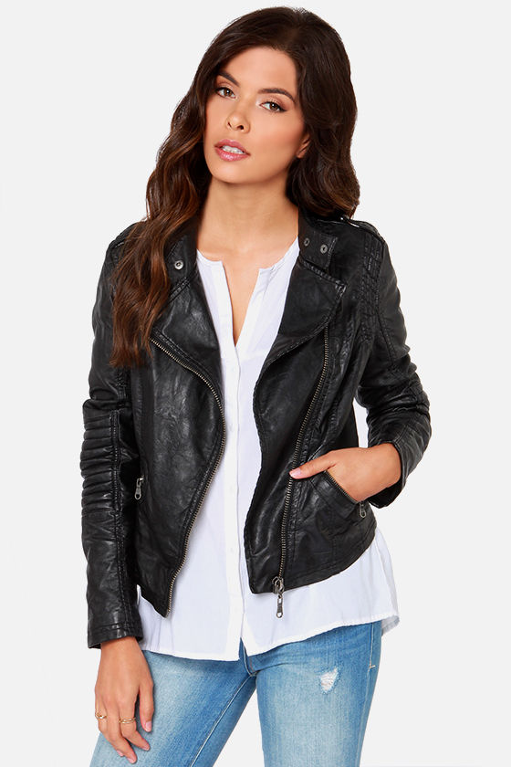 Never Cared Studded Jacket you don't have a care in the world This black vegan leather moto jacket has silver studs on the sleeves N' collar.