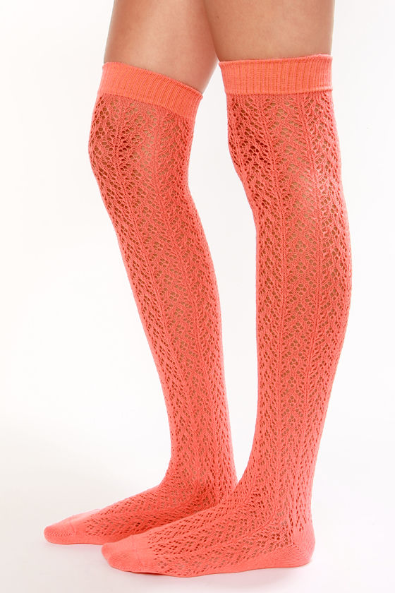 7029265ed83 Cute Over the Knee Socks - Coral Socks - Crocheted Socks -  20.00