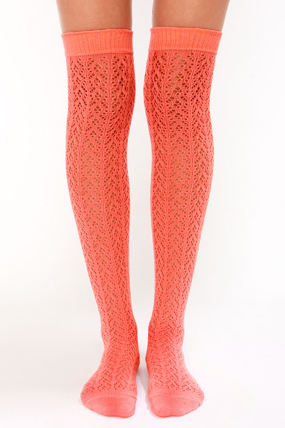 Tabbisocks Kawaii Crocheted Coral Over the Knee Socks at Lulus.com!