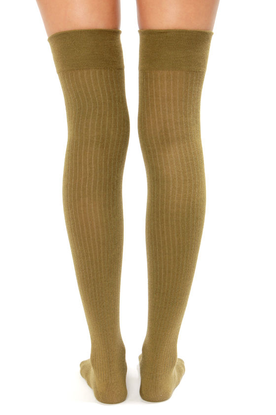Tabbisocks Extra Sweet Ribbed Over the Knee Olive Green Socks at Lulus.com!
