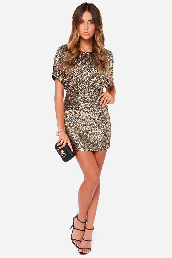 Gold Sequin Dress - Short Sleeve Dress - Gold Dress - $95.00