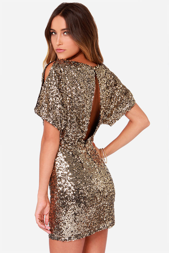 Gold Sequin Dress - Short Sleeve Dress - Gold Dress - $95.00