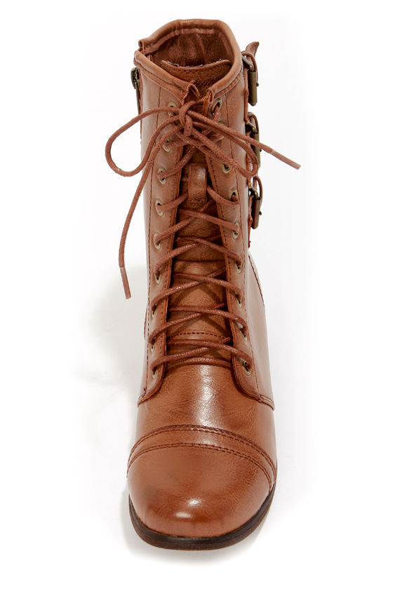 Cute Brown Boots - Vegan Leather Boots - Combat Boots - $69.00
