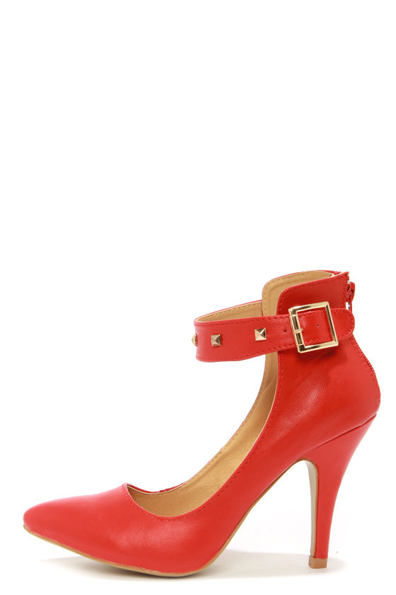 Leuven Fiene Red Studded Ankle Strap Heels at Lulus.com!