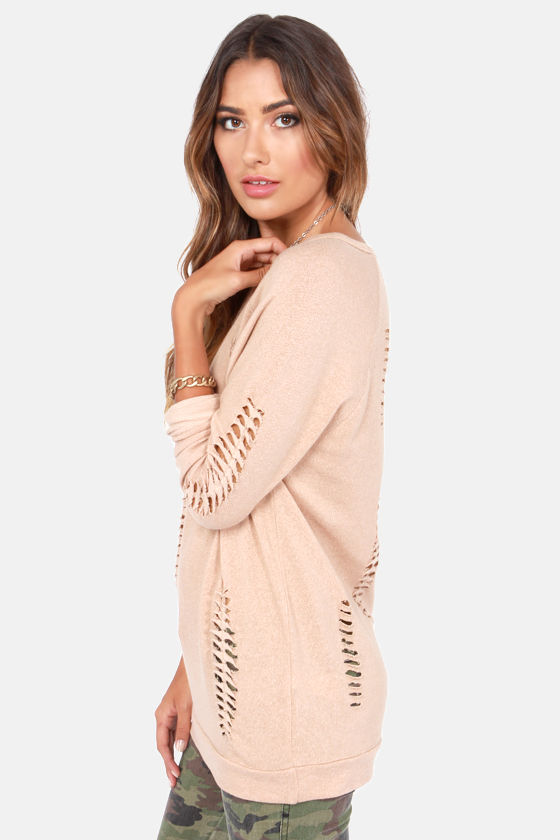 Obey Jezebel Clay Brown Slashed Sweater at Lulus.com!