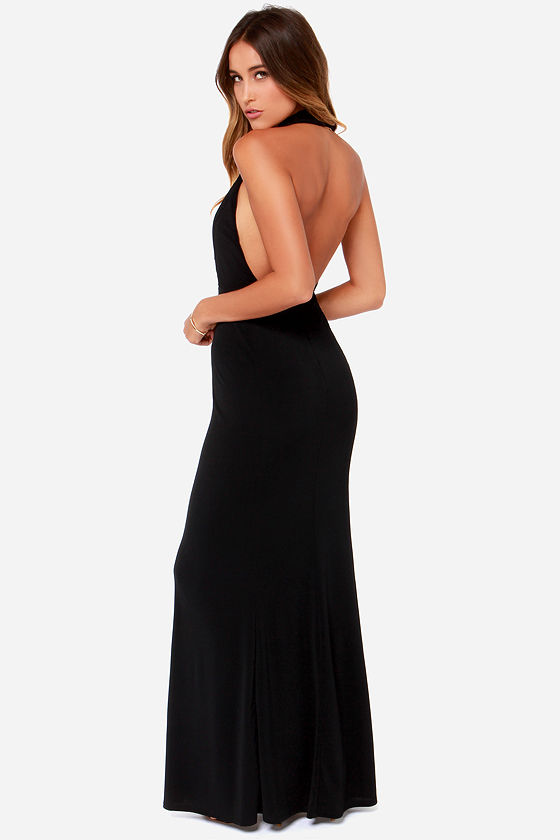 Night Cowl Black Maxi Dress at Lulus.com!