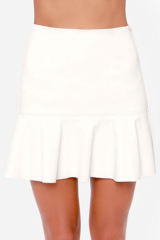 ivory skirt vegan leather skirt trumpet skirt