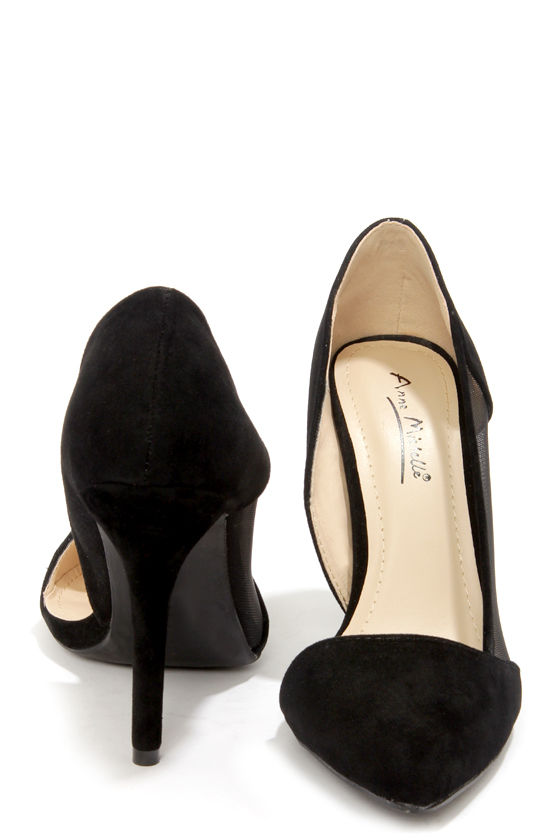 Anne Michelle Momentum 39 Black Suede and Mesh D'Orsay Heels at Lulus.com!